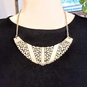 Silver Geometric Statement Necklace